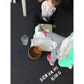 Cleaning our shoes