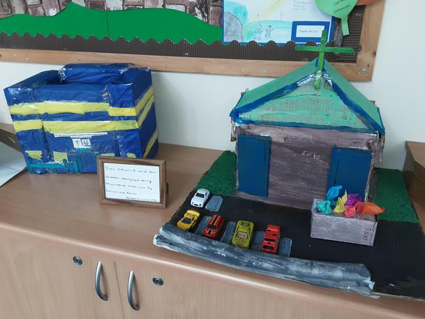 Two of our families made our Church and School out of recyclable materials!