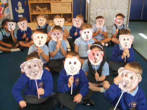 We had fun making bear masks.