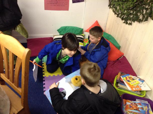 Reading together in the Big little library.