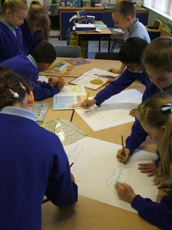 We worked together researching information.