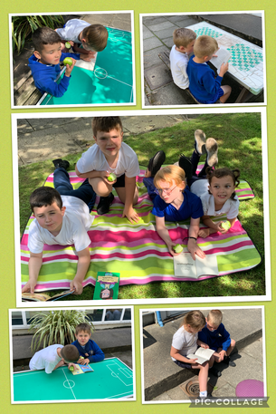 Enjoying a sunny afternoon with our new books!