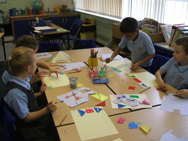 We have enjoyed creating mosaics using patterns.