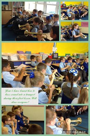 Our first trumpet lesson. 09/09/19