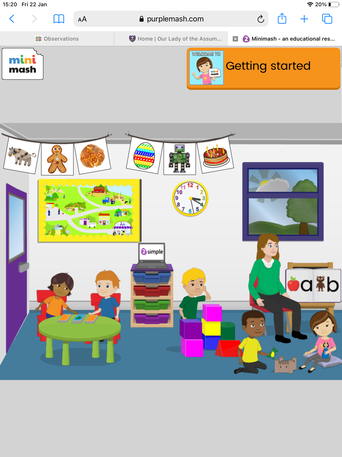 Click on the activities in the classroom. Click on the purple door to go outdoors.