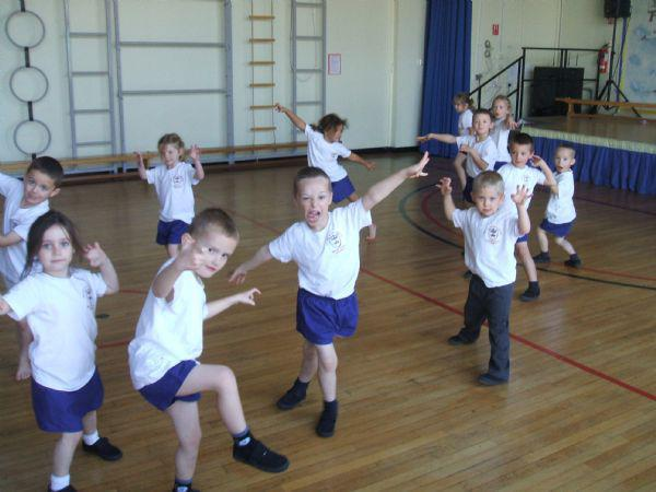 We moved as bears in our P.E. lesson.