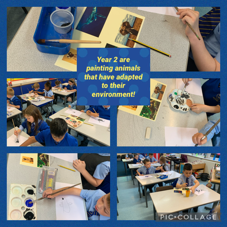 Painting animals in Science.