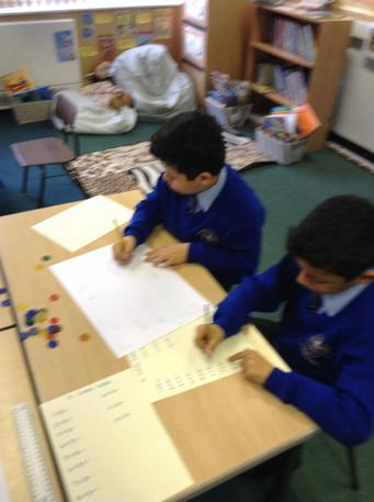 Working together to learn the 3 times table.