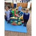 We worked SO HARD on our construction...