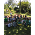 Wednesday was 'green day'. We enjoyed 'snack time' together in our Prayer Garden...