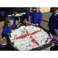 We recreated St George's flag using paint and foam...