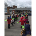 We role-played the story of Palm Sunday outside...