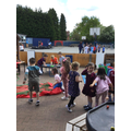 ...and enjoyed negotiating an obstacle course outside.