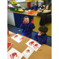 We created our own 'Little Red Hen' pictures.