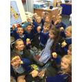 Once our dough had 'proved' and was cooked, we ate it. It was delicious!