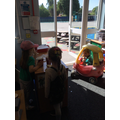 We've enjoyed playing in our Costa Coffee 'drive through' role play area...