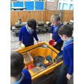 We were excited to discover that the storm had flooded our sandbox!