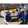 We created bugs using the Tap-a-Shape kit...