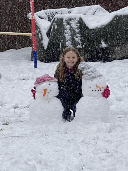 Ellis and her snow friends!