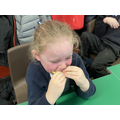 Child pulling a funny face from eating a lemon.