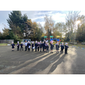 Children stood waving their flags.