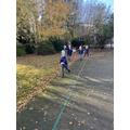 Children doing their coronation walk.