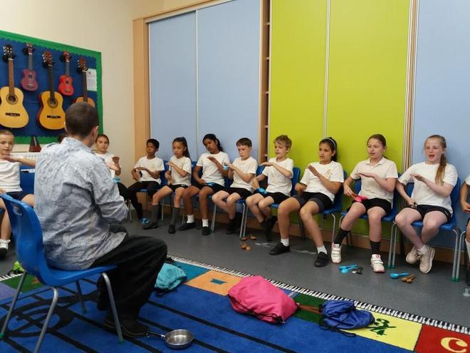 Year 5 Spoon Percussion with Jo May Percussion