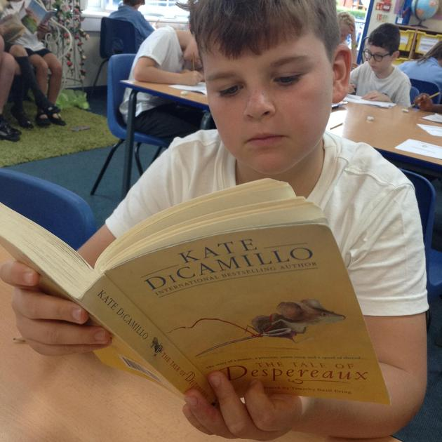 I am reading The Tale of Despereaux by Kate DiCamillo. I like the adventure and emotion.