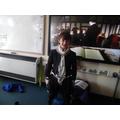 Dressing up as a Tudor boy.