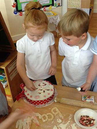 Decorating our cake