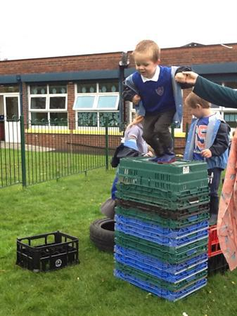 Reception and nursery made an obstacle course!
