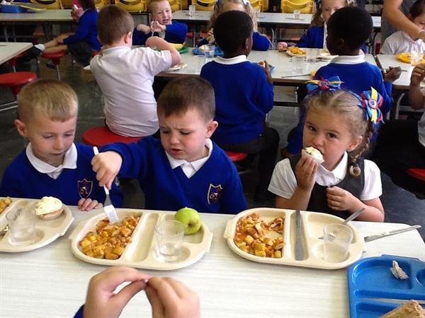 Enjoying our school dinners