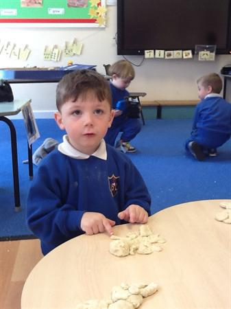 We made animals from salt-dough and painted them.