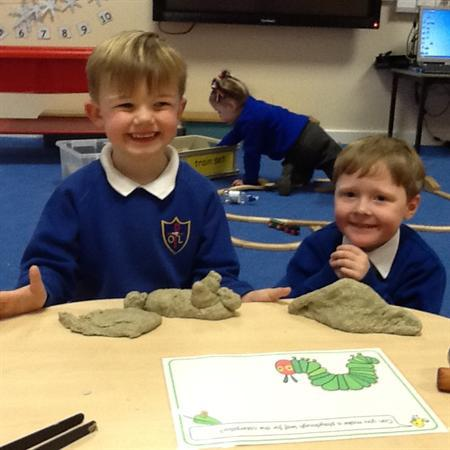 We have made caterpillars out of play-dough!