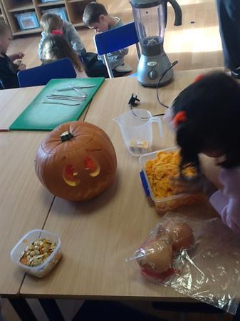Getting ready to make pumpkin soup.