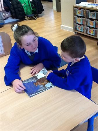 Year 6 came to read stories to us!
