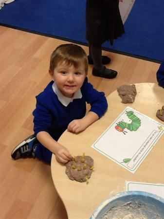 We have used pasta and dough to make caterpillars.