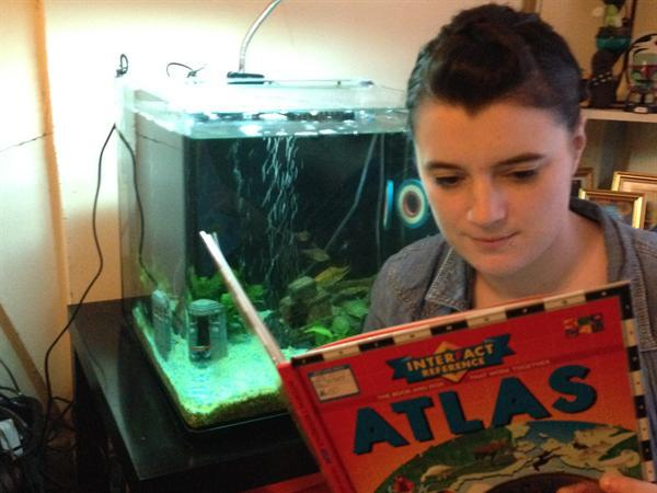 """I love to read with my fish."" Miss Adshead"