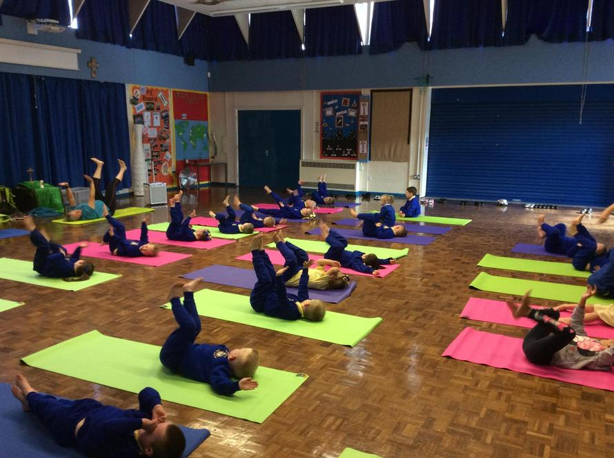 Reception relaxing during their yoga session