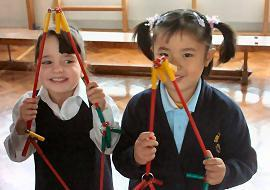 These Reception girls made 'polyhedral skeletons'.