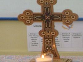 An altar was set up in the classroom.