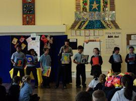 Year 3 showed pictures and poems.