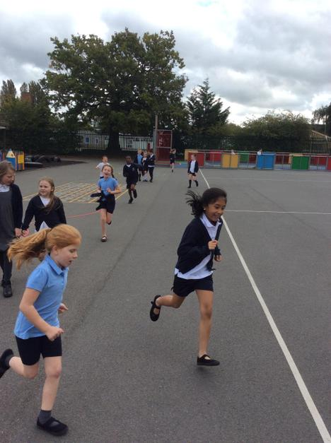 Year 4 completing their daily mile after a hard working Monday afternoon.