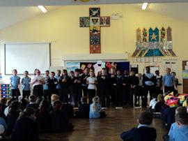 Year 5 sang to the rest of the school.