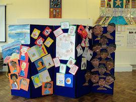 Displays of work from Black History Month.