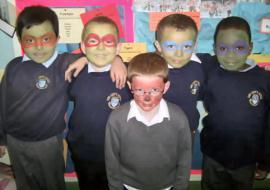 Boys from Year 2, all looking like Ninja Turtles!