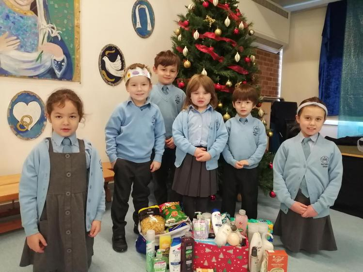 Willow class with donations for foodbank