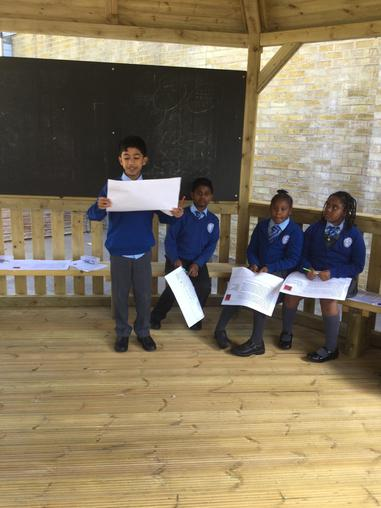 Many students took the role of a teacher and explained to the class what must be included.