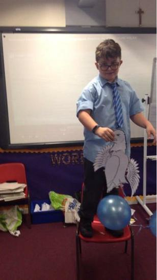 Liam's eagle flies using helium balloons!
