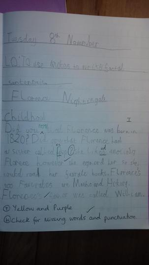 We used our notes to write about her life.